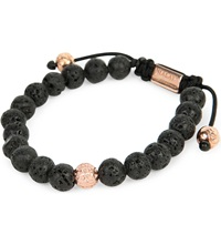 Nialaya 14Ct Rose Gold And Lava Stone Beaded Bracelet Black R Gold