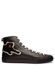 Gucci Panther High Top Leather Trainers Black Multi