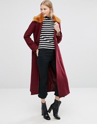 Asos Trapeze Coat In Wool Blend With Fur Collar Berry Red