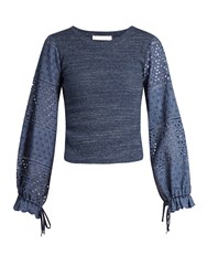 See By Chloe Broderie Anglaise Blouson Sleeved Top Blue