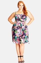 Plus Size Women's City Chic 'Tropicana' Fit And Flare Sundress