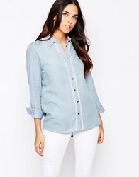 Goldie Lay It Down Denim Shirt With Trim Blue
