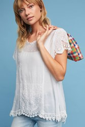 Anthropologie Annika Lace Trimmed Tunic White