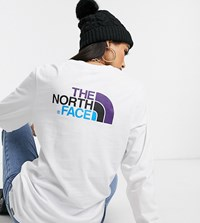 The North Face Easy Long Sleeve T Shirt In White Exclusive At Asos