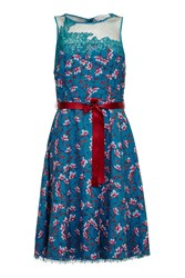Almost Famous Painted Floral Chiffon Dress Green