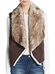 Candc California Faux Fur Vest Brown
