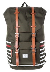 Herschel Little America Rucksack Forest Night Offset Stripe Dark Green