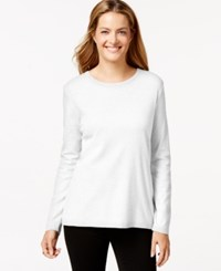 Styleandco. Style And Co. Long Sleeve Crew Neck T Shirt Bright White