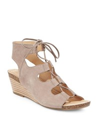 Me Too Tami Leather Wedge Ghillie Sandals Beige