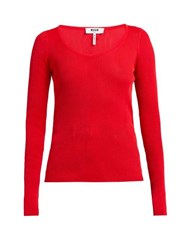 Msgm Scoop Neck Stretch Knit Top Red