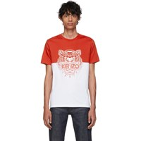 Kenzo Red And White Limited Edition Colorblock Tiger T Shirt 21 Dark Red