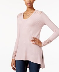 American Rag Long Sleeve Mixed Media Tunic Only At Macy's Pale Mauve