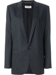 Saint Laurent Pinstripe Blazer Grey