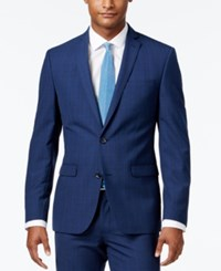 Bar Iii Men's Slim Fit Blue Plaid Jacket Only At Macy's