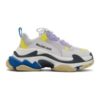 Balenciaga White And Purple Triple S Sneakers