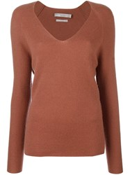 Vince Deep V Neck Jumper Brown
