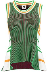 M Missoni Ribbed Knit Cotton Blend Tank Green