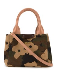 Muveil Camouflage Print Tote Brown