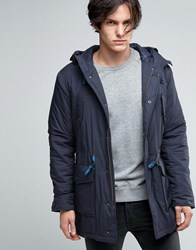Sisley Wool Parka With Drawstring Hood Navy 275