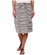 Xcvi Double Shirred Panel Knee Length Skirt Cirrus Grey Women's Skirt Gray