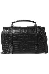 Saint Laurent Charlotte Large Croc Effect Leather Shoulder Bag Black
