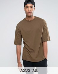 Asos Tall Oversized T Shirt In Brown With Half Sleeve Balsam