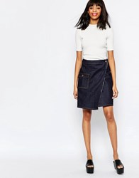 Monki Denim Wrap Over Skirt Blue