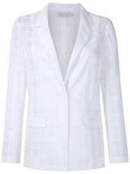 Mara Mac Check Sheer Blazer White