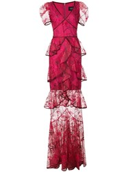 Marchesa Notte Embroidered Long Dress Pink