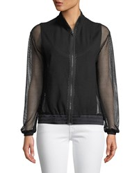 Grayse Mesh Sleeve Zip Front Bomber Jacket Black White