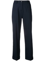 Aspesi Mid Rise Straight Trousers Blue