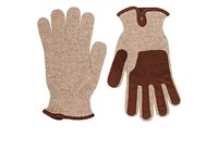 Barneys New York Men's Suede Trimmed Wool Gloves Tan