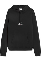 Saint Laurent Oversized Printed Cotton Jersey Hooded Top Black