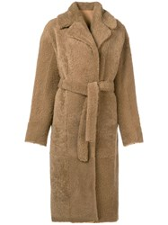 Giorgio Brato Long Shearling Coat Nude And Neutrals