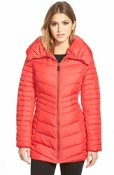 Women's Marc New York 'Kirby' Chevron Quilted Pillow Collar Down And Feather Fill Coat Red