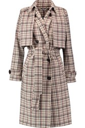 Ganni Checked Wool Blend Trench Coat Cream