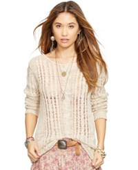 Denim And Supply Ralph Lauren Open Knit Cable Sweater Cream