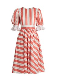 Anna October Puff Sleeve Striped Cotton Dress Pink Multi