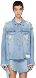 Sjyp Blue Denim Cut Off Jacket