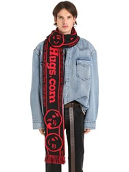 Vetements Reebok Free Hugs Acrylic Fringed Scarf