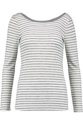 Splendid Ballet Striped Ribbed Jersey Top Gray