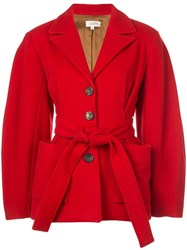 Isa Arfen Belted Fitted Coat Red