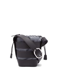 Paco Rabanne Cage Leather And Suede Bucket Bag Black