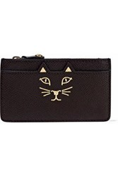 Charlotte Olympia Feline Metallic Printed Textured Leather Coin Purse Chocolate