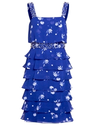 Gina Bacconi Tiered Frill Dress Carbon Blue