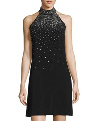 Jax Stud Embellished Mock Neck Dress Black Metallic