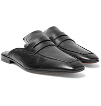 Berluti Luciano Leather Backless Penny Loafers Black