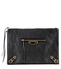 Balenciaga Classic Pouch Metallic Edge Leather Clutch Black