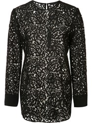 Jenni Kayne Back Slit Lace Blouse Black