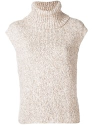 Paule Ka Short Sleeved Roll Neck Sweater Nude And Neutrals